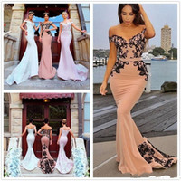 2018 Lace Mermaid Long Bridesmaid Dresses Off The Shoulder S...