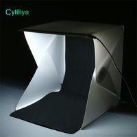 Mini Led Fotostudio Faltbare Schießen Zelt Fotografie Beleuchtung Zelt Kit mit Weißen und Schwarzen Hintergrund Tragbare Fotografie Box