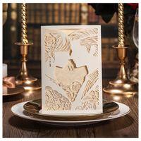 Divertidas fotos de novias y novias Recortes con láser Invitaciones de boda Tarjeta de papel hueca barata con estilo de Rose Online Año Nuevo Tarjetas de Navidad Vintage