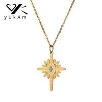 YUKAM Bijoux Créatif Or Sun North Star Pendentif Colliers pour Femmes En Acier Inoxydable Cristal Strass Croix Ras Du Cou Colliers