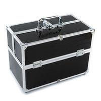 Venta al por mayor 3 capas grande caso de maquillaje cosmético organizador caja profesional que contiene caja de almacenamiento maquillaje herramientas accesorio negro
