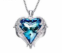 بلورات من القلائد النمساوية المرأة ملاك القلب قلادة الأزرق الأرجواني النمساوية حجر الراين شيك الأزياء والمجوهرات هدية