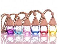6 مل ملون زجاج زجاجة زيت أساسي سيارة شنق الديكور قلادة فيمو الجمال قوارير العطور هدية الزفاف c784