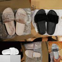 Pantofole puma sandals Slippers shoes moda di Rihanna Leadcat Fenty Pantofole nere di lana con motivo a mano grigio bianco e rosa con scatola per scarpe 362266