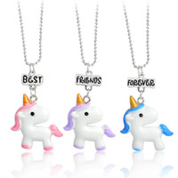 3 Pcs  Set Unicorn Necklace Jewelry keychain Best Friend For...