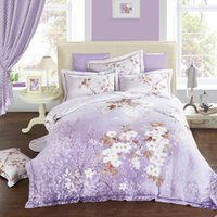 2018 Fresh Flowers Purple Duvet Cover Set Winter Thick Bedli...