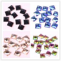 300 Stücke 16 Farbe 8*8mm Shiny Platz Glas Kristall Kleben Kristall Platz FlatBack Charme Perlen für DIY Schmuck Finden