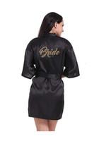 Damen Nachtwäsche Sexy Black Robe Frauen Kurze Braut Brautjungfer Kimono Roben Für Hochzeitsfest Schwester der Mutter