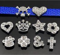 Instock liquidação venda 100 pçs / lote diy slide projeto misturado com strass encantos para 10mm diy pulseira de couro pulseira