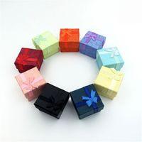 papier bowknot Bijoux emballage affichage Coffrets cadeaux 4X4X3cm mignon Boîte Rouge Rose Violet Bleu earrrings Anneau Boîtes en gros
