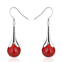 S925 prata vermelho ágata bead gotas brincos de jóias com 925 prata plugue dourada moda brinco para mulheres