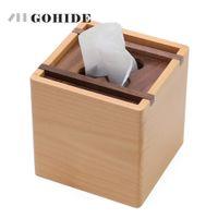 JUH الموضة الحديثة خشبية مربع الأنسجة مربع الإبداعية مقعد نوع لفة ورقة الأنسجة علبة صديقة للبيئة الخشب الجدول الديكور