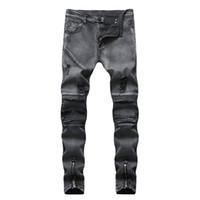 Newsosoo Marka Hip hop Erkekler Kot Kara Delik Yırtık Motosiklet Kot Yüksek Sokak Fermuar Denim Pantolon Slim Fit Sıska Pantolon