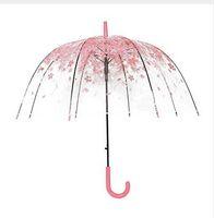 새로운 패션 4 색 크리 에이 티브 여성 비 태양 우산 긴 핸들 벚꽃 버섯 공주 투명한 낭만주의 우산