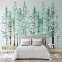 Custom 3D Photo Wallpaper Mural Modern Mint Green Fresh Wood Nordic TV Background Wall Painting Wallpaper Dormitorio Living Room Decor