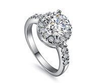 프로모션 쥬얼리 도매 우수한 라운드 헤일로 2CT 소나 결혼 시뮬레이션 다이아몬드 반지 약혼 반지 스털링 실버 반지