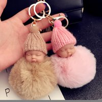 12 color Cute Sleeping Baby Doll Keychain Pompom Rabbit Fur ...