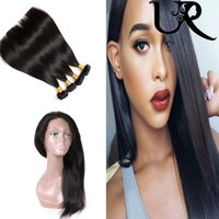 360 Peruvian Lace Frontal Closure with Straight Human Hair W...