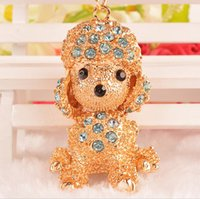 brand new crystal gold plated dog shape key chain rings pood...