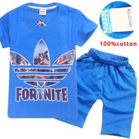 4 Color Boys Girls fortnite Leaf t shirt suit 2018 New kids ...