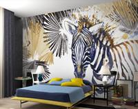Пользовательские 3D фрески 3D стереоскопическая линия акварель зебра обои фреска гостиная диван телевизор фон 3D обои рулон