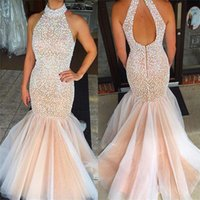 Tulle Fitted Floor Length Crystals High Neck Halter Mermaid Prom Dress Open Back Sleeveless Champagne Beaded Sexy Evening Gowns