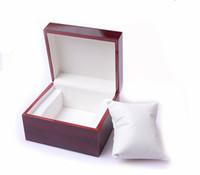 Cajas de alta calidad caja de reloj de madera de moda marrón vintage con caja de paquete de almohada cajas de relojes de pulsera Cajas de cajas de reloj