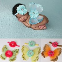 Baby Girl Hairband Angel Wings Photography Props Newborn Pho...