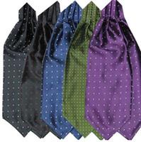 Moda de los hombres lunares lisos Imprimir Ascot corbata corbata corbata de seda mezcla Cravat