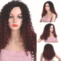 20 Inch Medium Kinky Curly Wig Black Brown Synthetic Hair Wi...