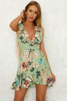 Ruffle v neck wrap summer dress Vestido de playa bohemio sin mangas de las mujeres 2018 Floral sash short casual dress vestidos