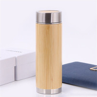 Bamboo Travel Thermos bottles Stainless Steel Water bottle V...
