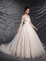 Beauty Pink Champagne Tulle Scoop Sleeves A- Line Wedding Dre...