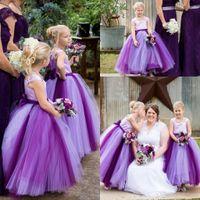 스퀘어 얇은 명주 공 가운 보우 보라색 민소매 바닥 길이 간단한 웨딩 드레스 꽃 파는 드레스 아름다운