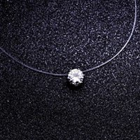 Fashion Square 6 Claw Cz Stone Crystal Zircon Necklace Invis...