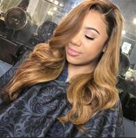 Бразильское омбре волнистые волнистые блестящие полные кружева человеческие парики волос 1b 27 мёд блондинки два тональных кружева передних париков 130 плотности отбеленные узлы
