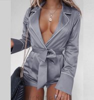 Women Sexy Long Sleeve Playsuit Satin Deep V- neck Solid Pin...