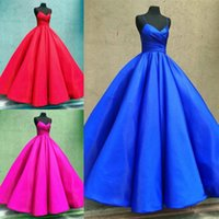 2018 Satin Quinceanera Dresses V Neck Sleeveless Lace Up Bal...