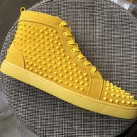 New 2018 Men Women Yellow Suede With Spikes High Top Red Bot...