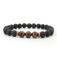 12 Constellation Natural Black Onyx 10mm Lava Tiger eye Stone Beads Men Bracelet Leo Lovers Energy Strand pulseras