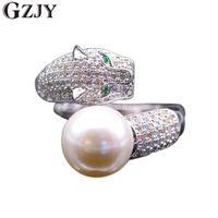 여성 화이트 골드 컬러 링 K02-3를 들어 GZJY 패션 타이거 인레이 큐빅 지르콘 쉘 진주 오프닝 반지