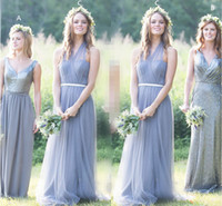 Halter Tulle Floor Length Bridesmaid Dresses Pleated Sequins...