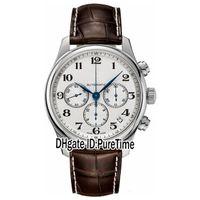 Venta New Master Collection L2.693.4.78.3 Dial Silver Dial Día Automático Mens Reloj Deportes Sports Brown Cuero Strap Sports Watches Barato 165A1