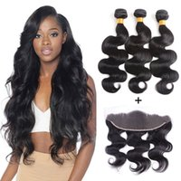 8A Brazilian Straight Body Wave Hair Bundles With 13x4 Front...