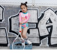 Proosea 2 قطعة / المجموعة الطفلات قطعتين المايوه الاطفال مخطط خطابات طباعة قمم + نقطة bowknot جذوع مايوهات المايوه بحر