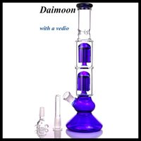 12. 6 inches Blue Glass bong double 6 arms tree percolator bo...