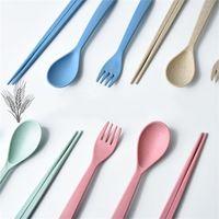 Voyage portable vaisselle multi couleur tige de blé cuillère baguettes fourchette couverts ensembles vente chaude 2 1yy C R