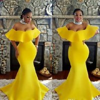 2019 Plus Size Off Shoulder Prom Dresses Bright Yellow Merma...