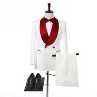 العاج مزدوج اعتلى البدلات الرسمية العريس الزفاف للالأحمر شال التلبيب اثنان من قطعة بالطلب الرجال الرسمي الدعاوى (سترة + سروال)