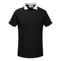 Marka yeni Yüksek kalite İlkbahar Yaz sonbahar Lüks tasarımcı casual polos t shirt tees polo adam gömlek yılan arı çiçek nakış ...